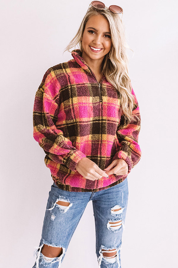 Perfect N' Plaid Sherpa Pullover In Pink