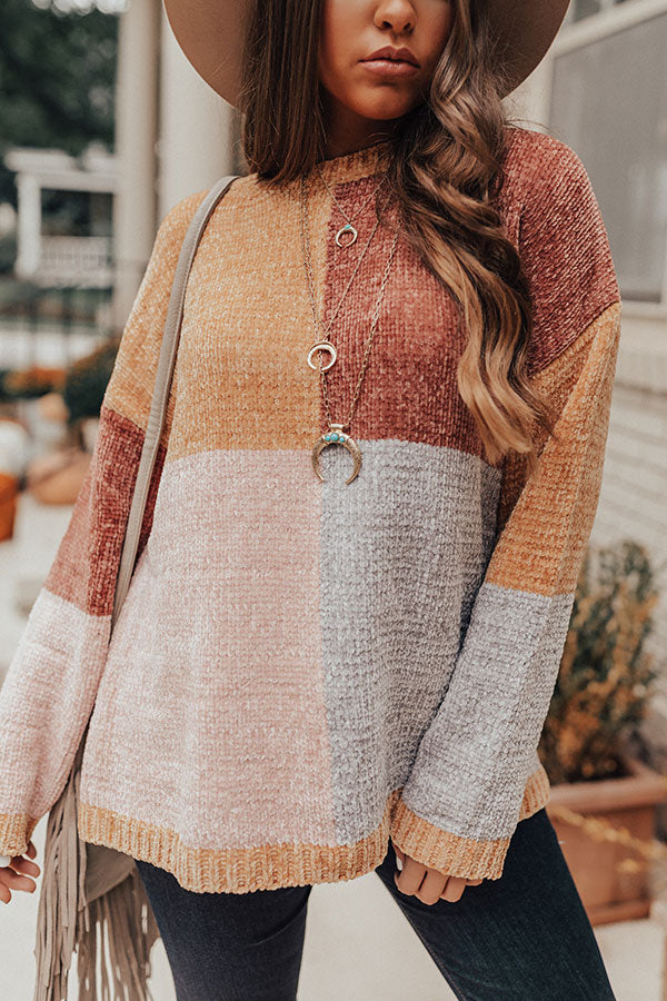 Cozy And Carefree Chenille Sweater in Marigold