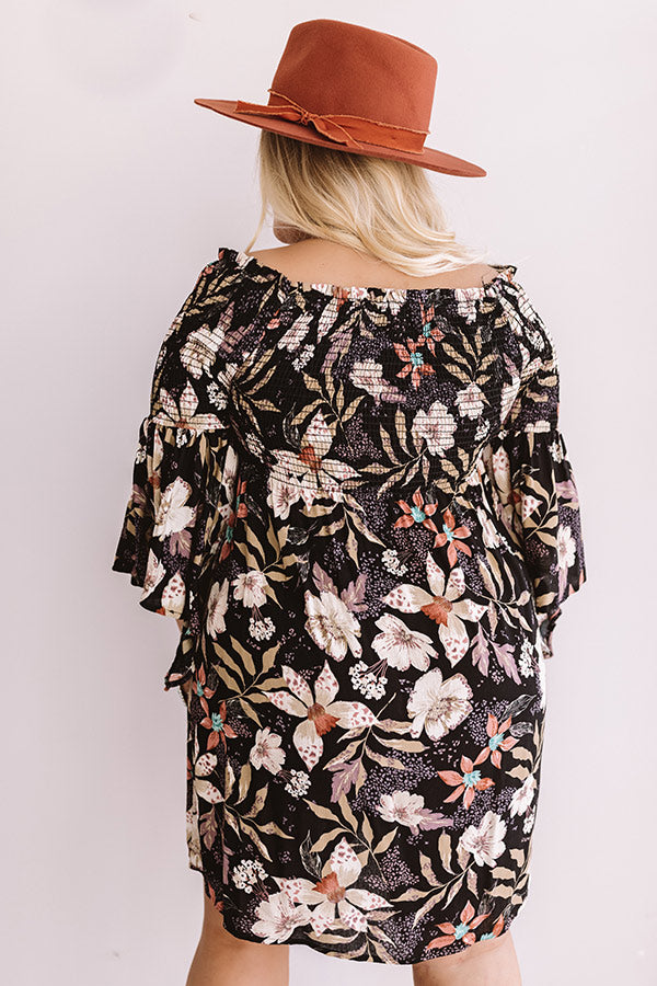 Garden Party Floral Shift Dress In Black