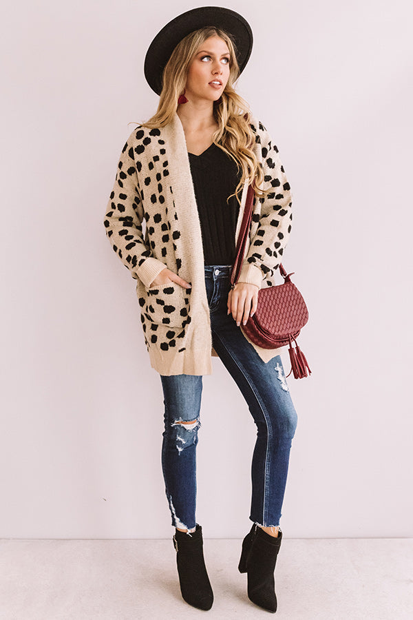 Sonoma Sightseeing Leopard Cardigan In Iced Latte