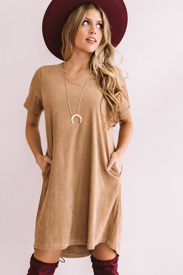 Soho Visit Corduroy Shift Dress In Iced Latte