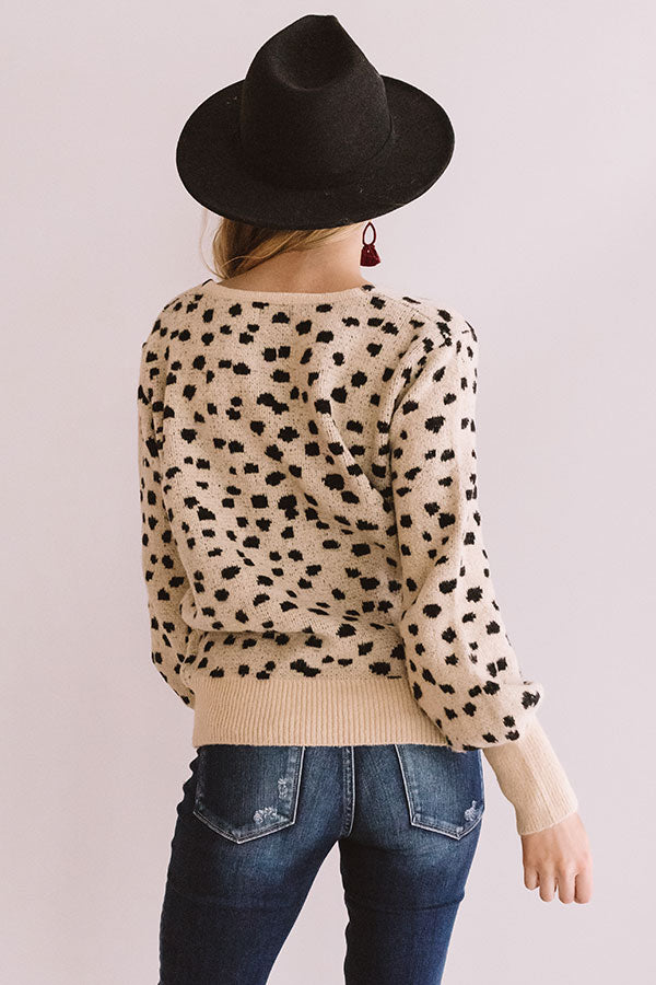 Sonoma Sightseeing Leopard Sweater In Iced Latte