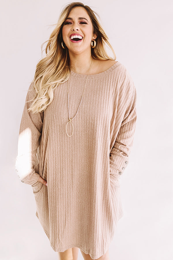 Smile For The Camera Shift Dress In Taupe