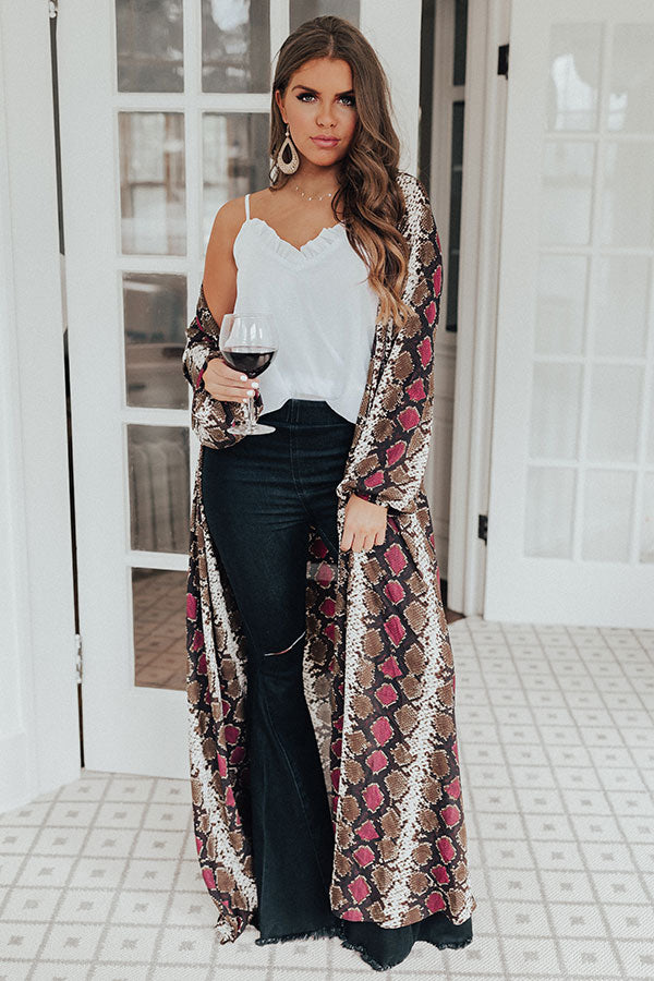 Love In Napa Snake Print Duster in Sangria