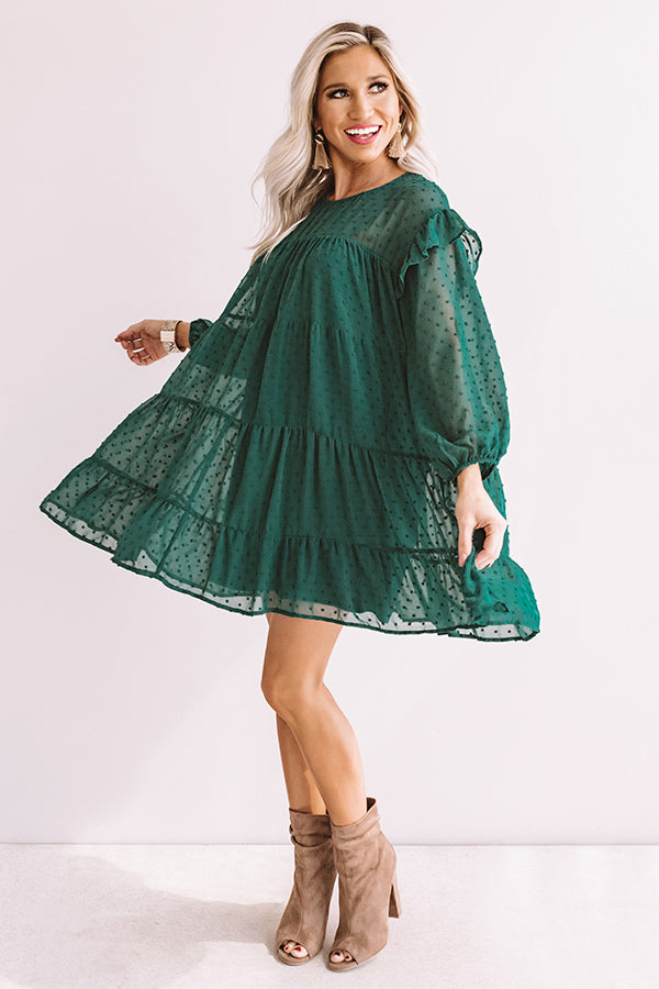 Pumpkin Spice Splendor Shift Dress In Hunter Green