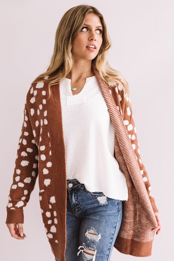 Sonoma Sightseeing Leopard Cardigan In Rustic Rose