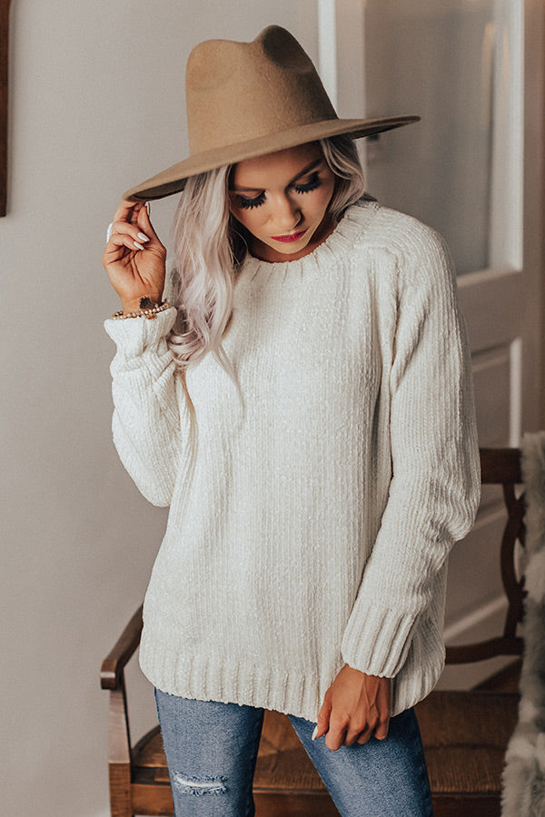 Lounging At The Lodge Chenille Sweater In White