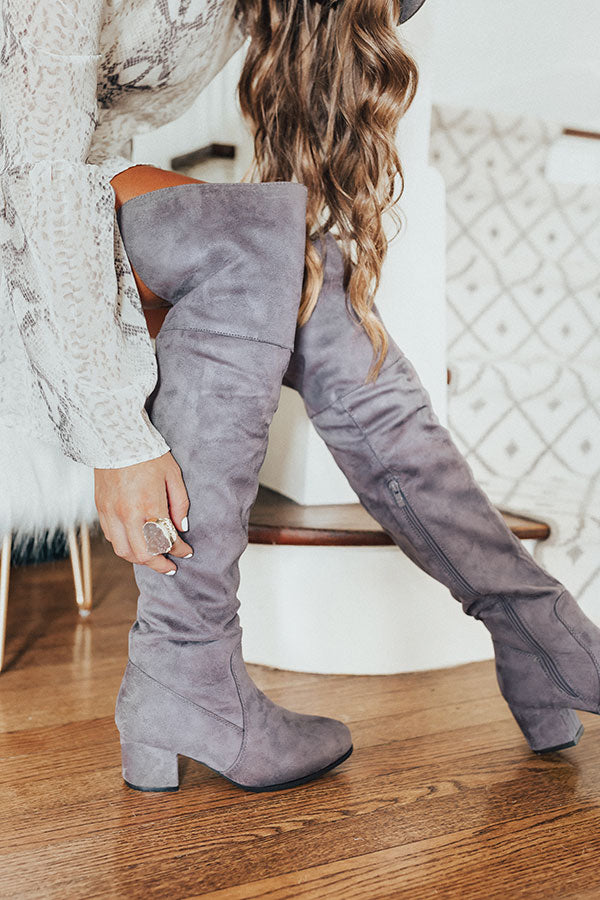 The Diana Faux Suede Thigh High Boot In Dark Grey
