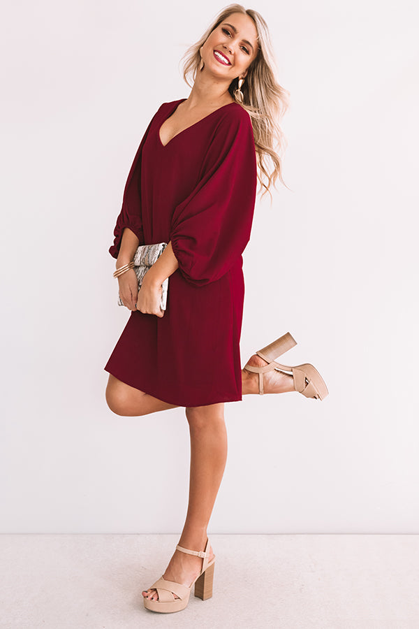 Primped To Party Shift Dress In Wine