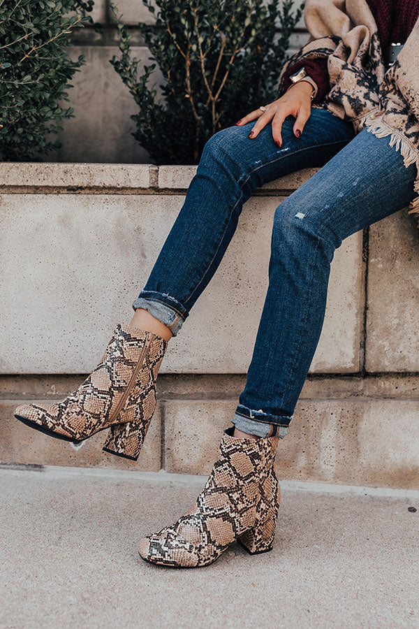 The Brie Snake Print Bootie