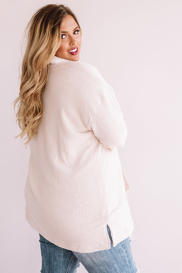 Bonfire Snuggles Waffle Knit Sherpa Pullover
