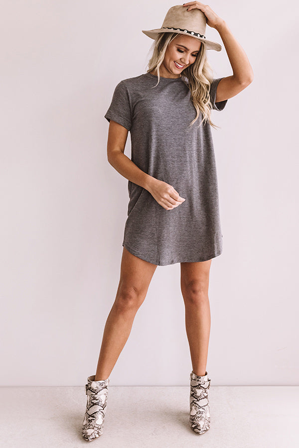 New Adventure T-Shirt Dress In Dark Grey