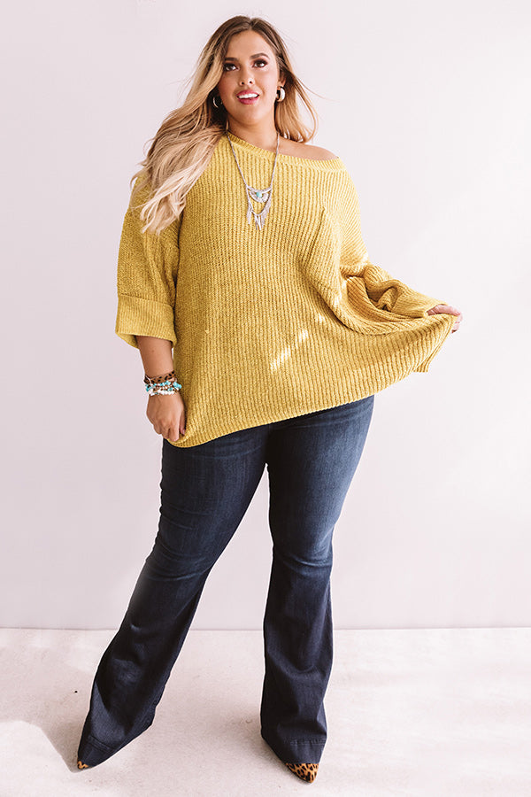 Fall Friendly Chenille Shift Sweater in Mustard