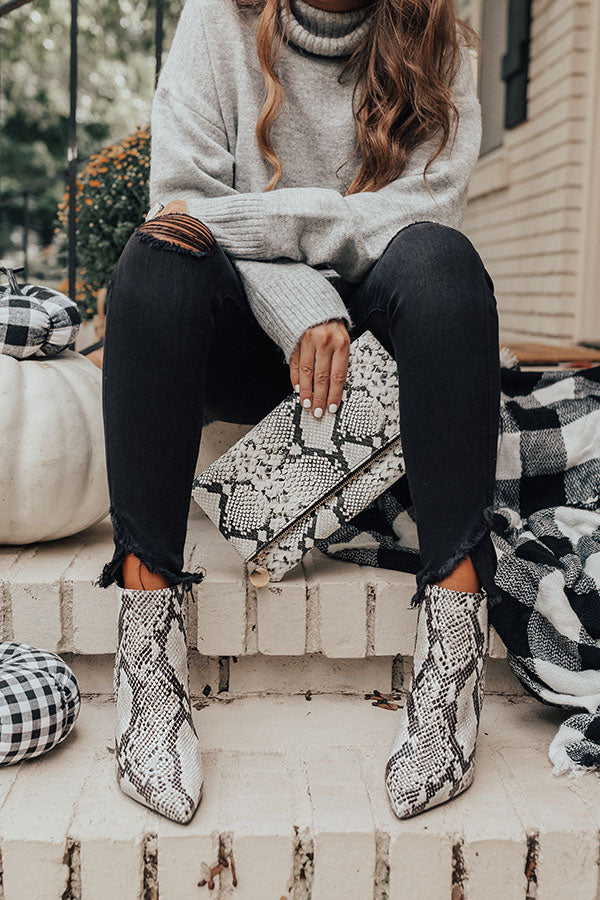 The Cora Snake Print Bootie