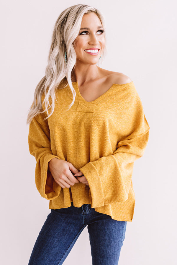 Once Upon a Dream Ribbed Shift Top In Golden Honey
