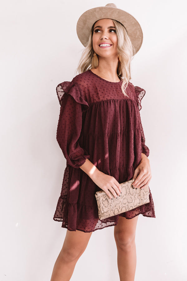 Pumpkin Spice Splendor Shift Dress In Windsor Wine
