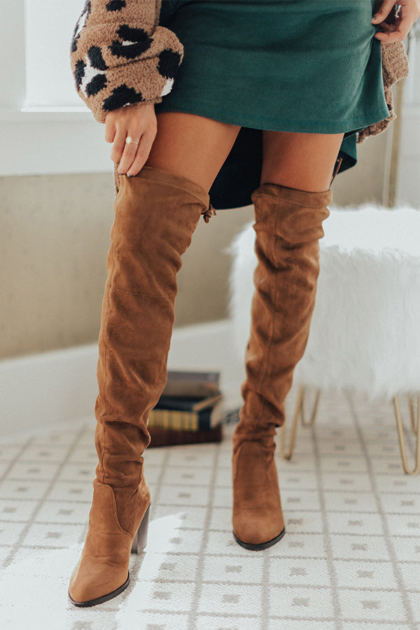 The Alice Faux Suede Thigh High Boot In Brown