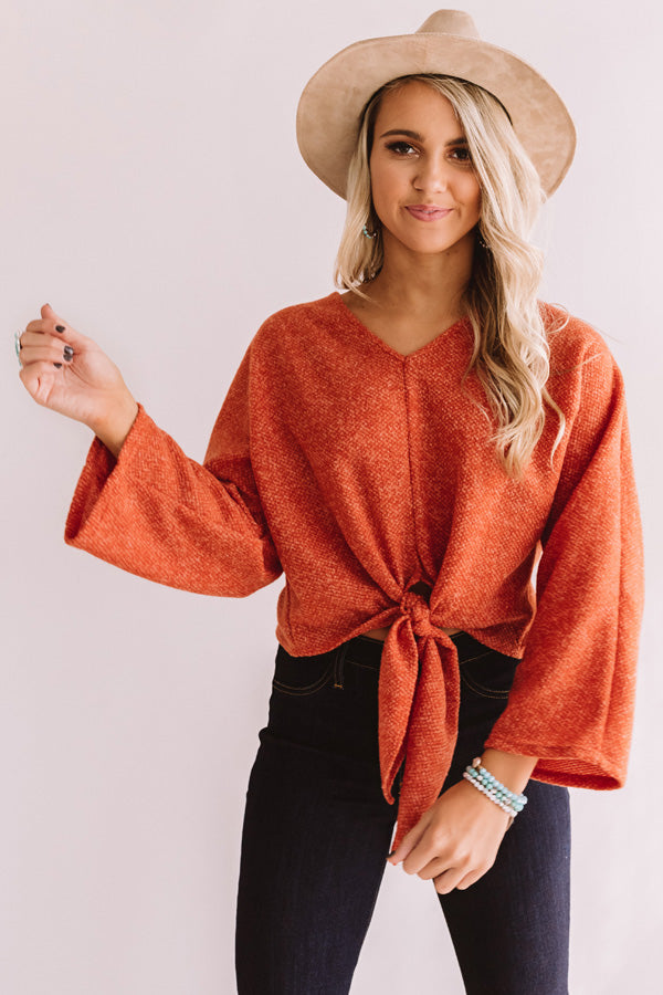 Valley Babe Tie Top In Pumpkin