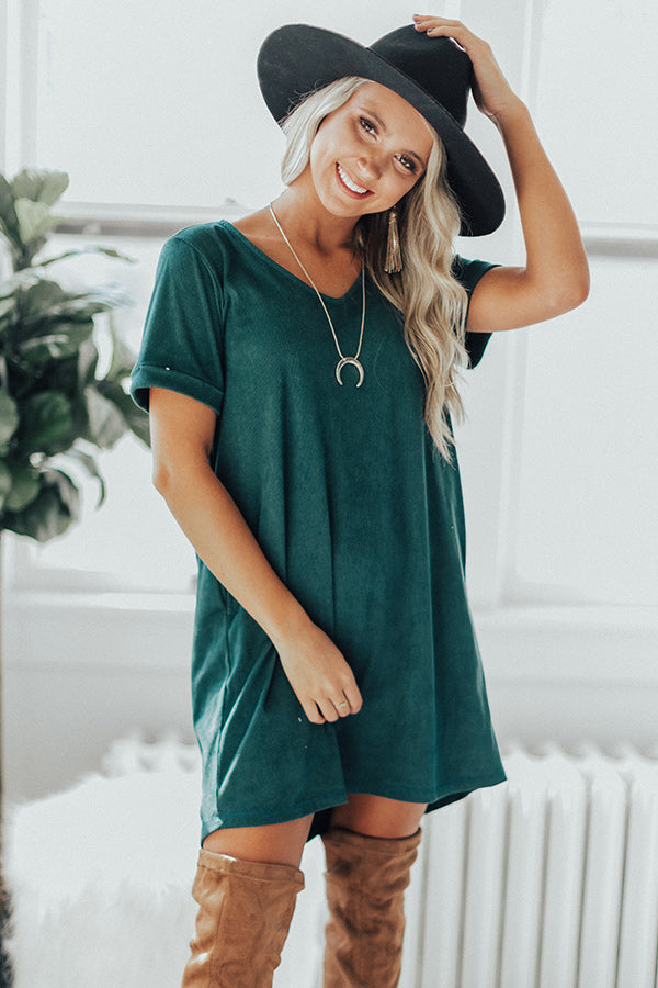 Soho Visit Corduroy Shift Dress In Hunter Green