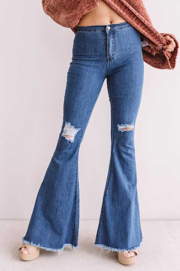 The Jonas High Waist Distressed Flare In Medium Wash