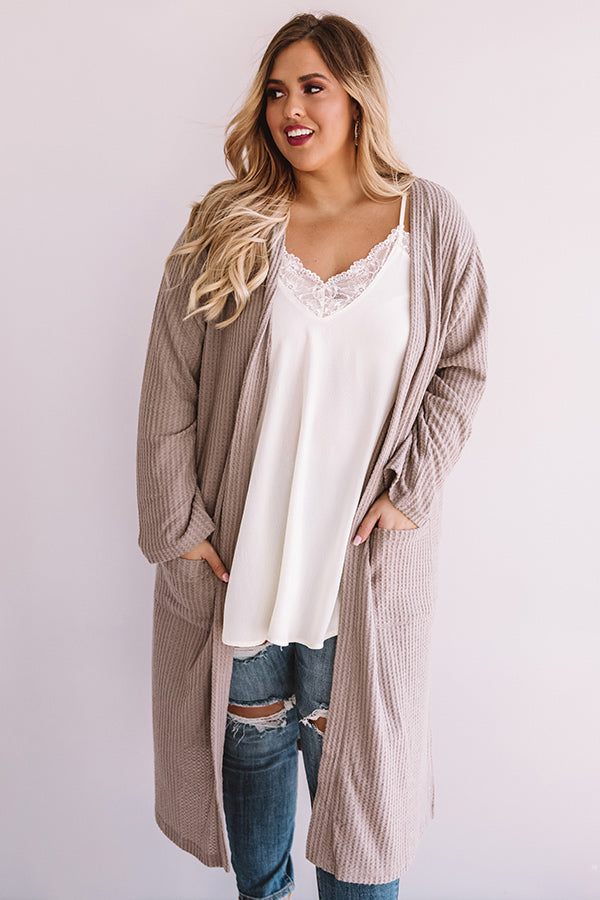 Ready To Rendezvous Waffle Knit Cardigan In Taupe