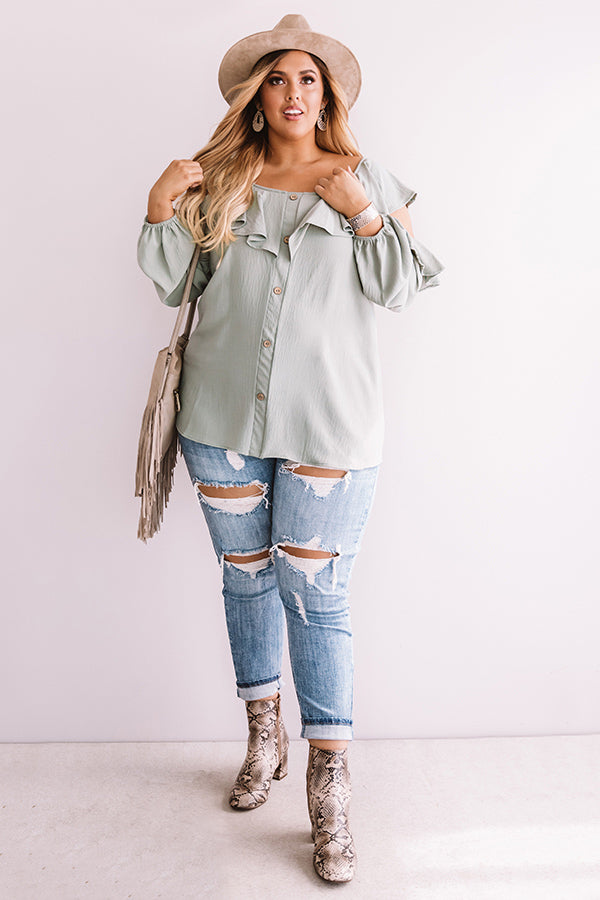 Romantic Reflections Ruffle Top In Sage