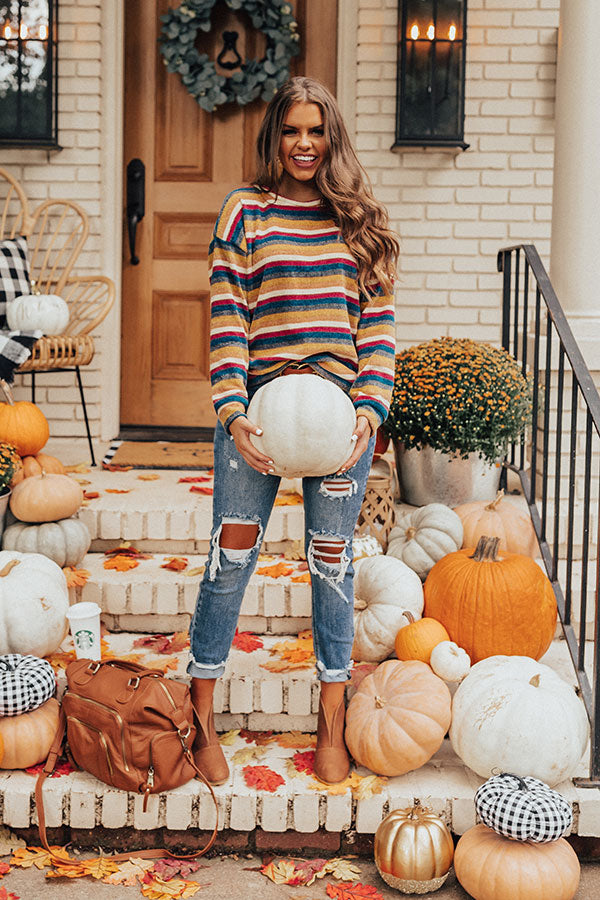 Weekend Ritual Stripe Chenille Sweater