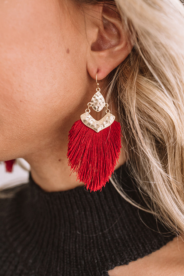 Glitzy And Pretty Earrings in Wine