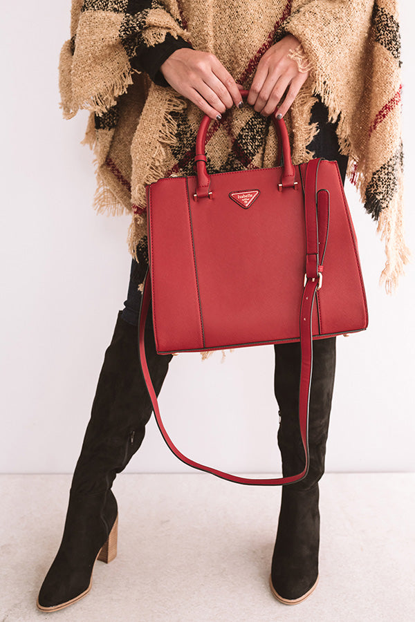 Going, Going, Glam Faux Leather Tote in Red