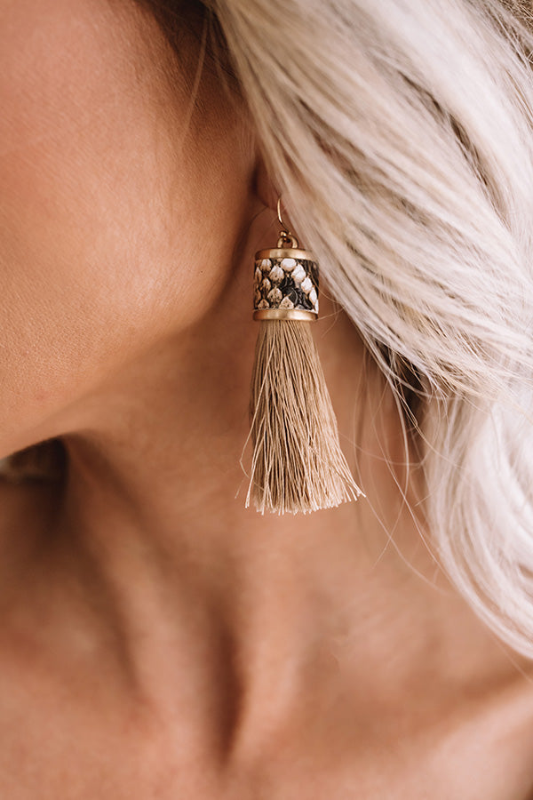 Afterglow Tassel Snake Print Earrings in Taupe