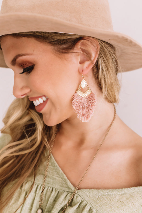 Glitzy And Pretty Earrings in Blush