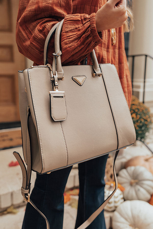Going, Going, Glam Faux Leather Tote in Taupe