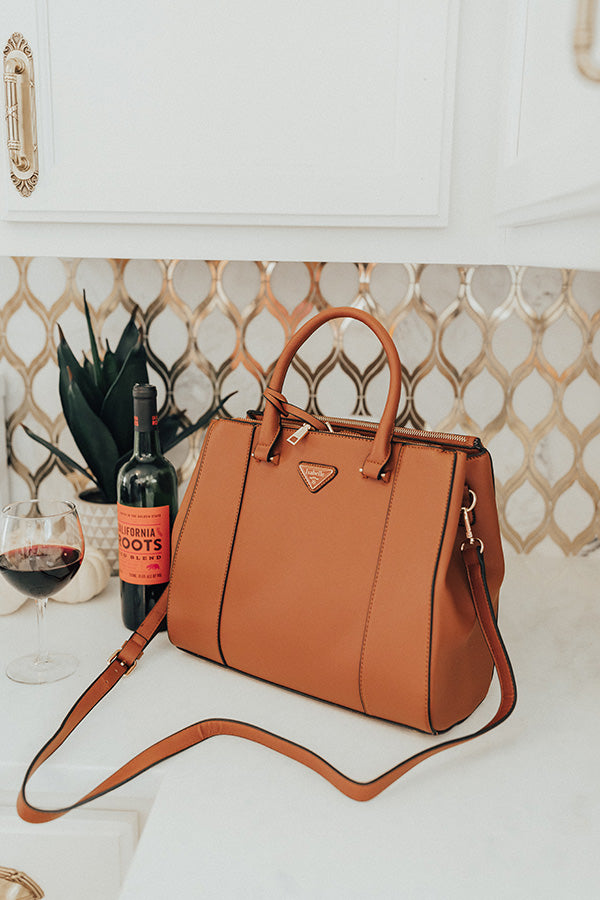 Going, Going, Glam Faux Leather Tote in Cinnamon