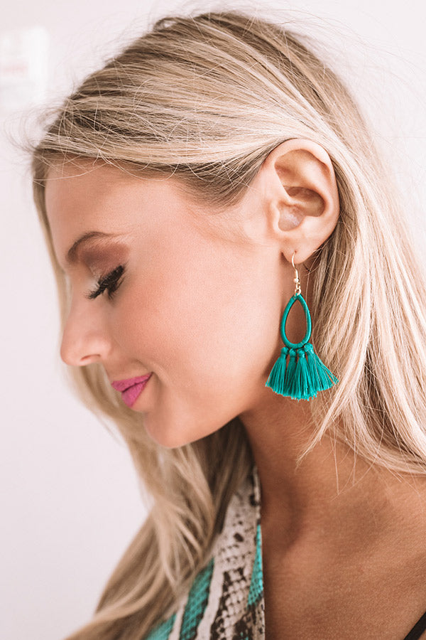 Making Music Tassel Earrings in Green