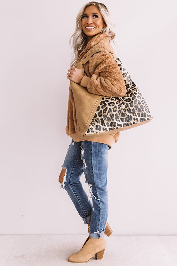 Tribeca Treasure Leopard Tote In Khaki