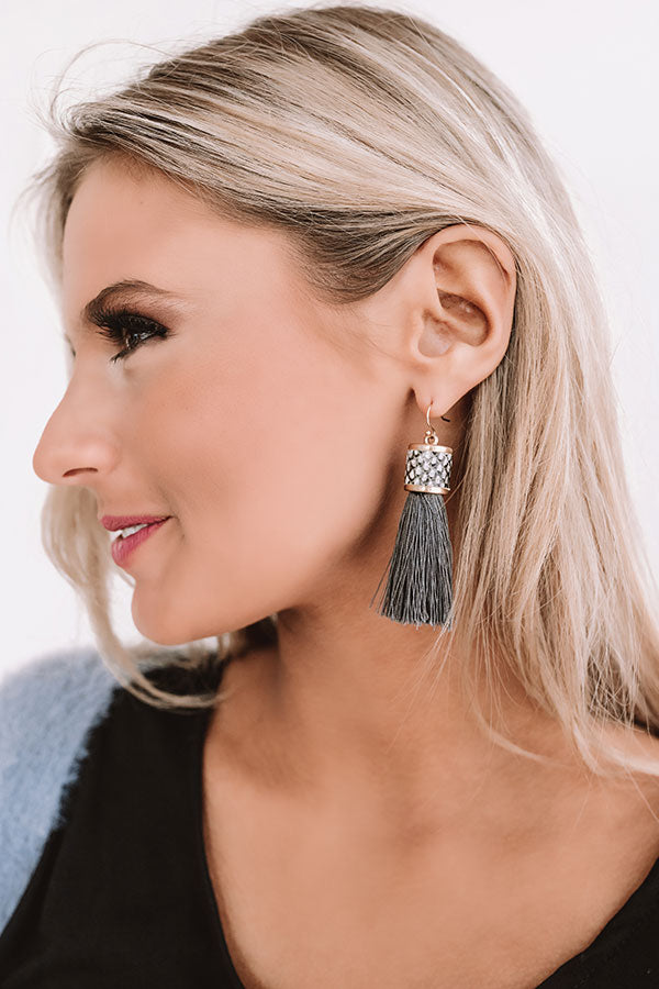 Afterglow Tassel Snake Print Earrings in Charcoal