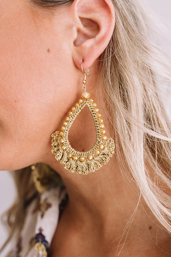 Fit For A Queen Beaded Earrings in Mustard