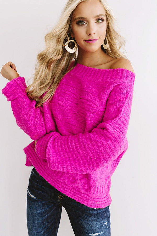 Cappuccino Cozy Cable Knit Sweater In Hot Pink