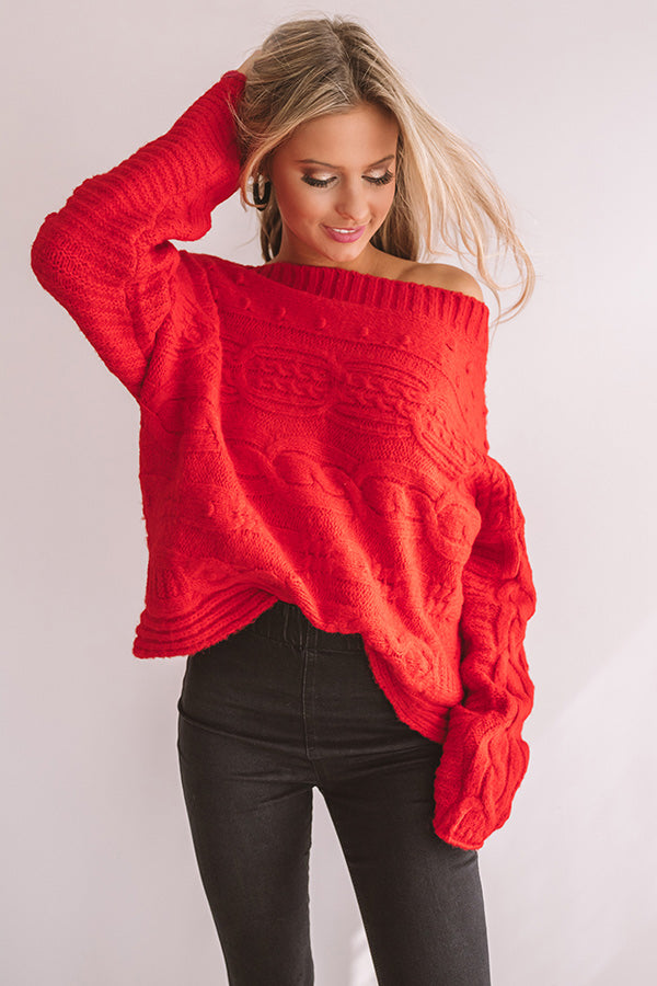 Cappuccino Cozy Cable Knit Sweater In Red
