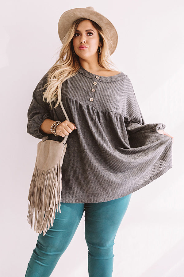 Travel The World Waffle Knit Top In Dark Grey