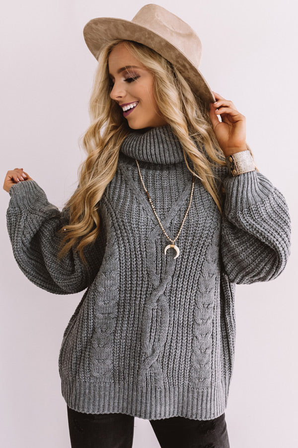 Saved By The Belle Knit Sweater In Light Slate