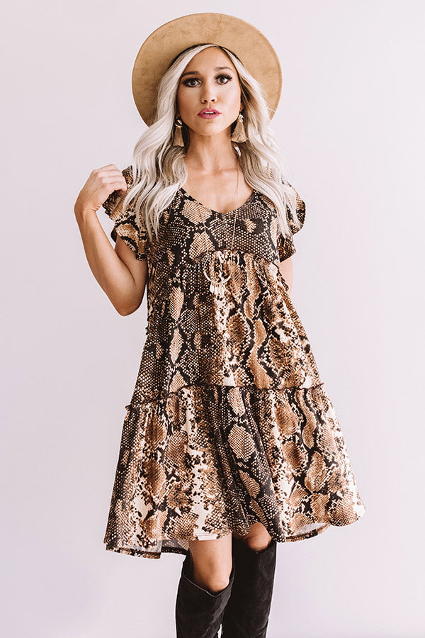 Chic On Command Snake Print Babydoll Dress