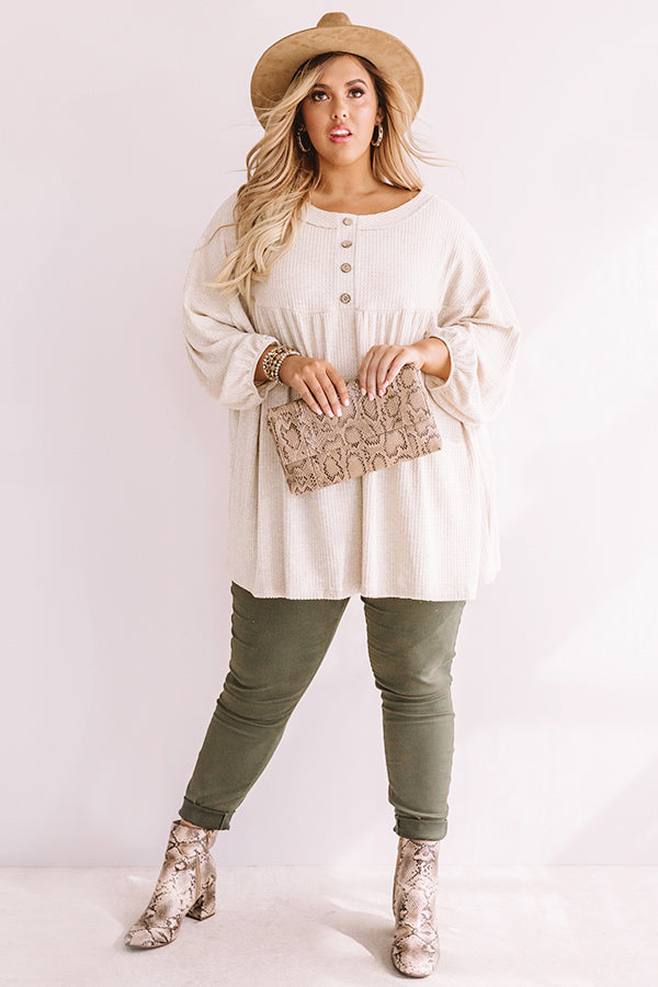 Travel The World Waffle Knit Top In Birch