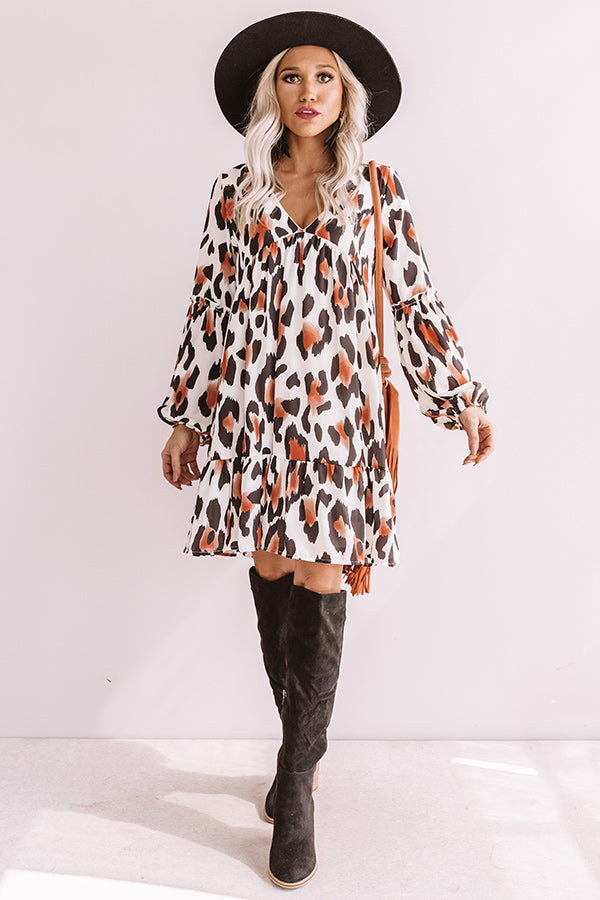 Pumpkin Spice Chic Leopard Babydoll Dress
