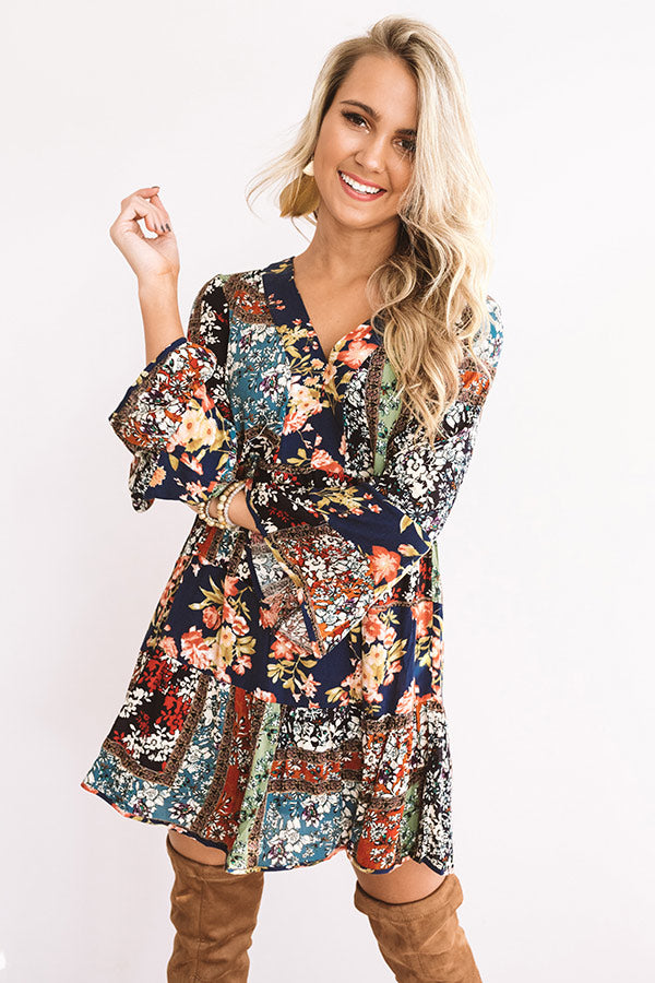 Bliss And Bouquets Babydoll Dress in Navy