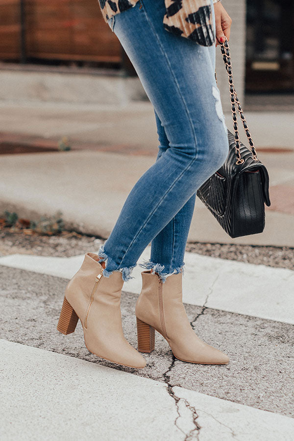 The Miller Faux Leather Bootie In Beige