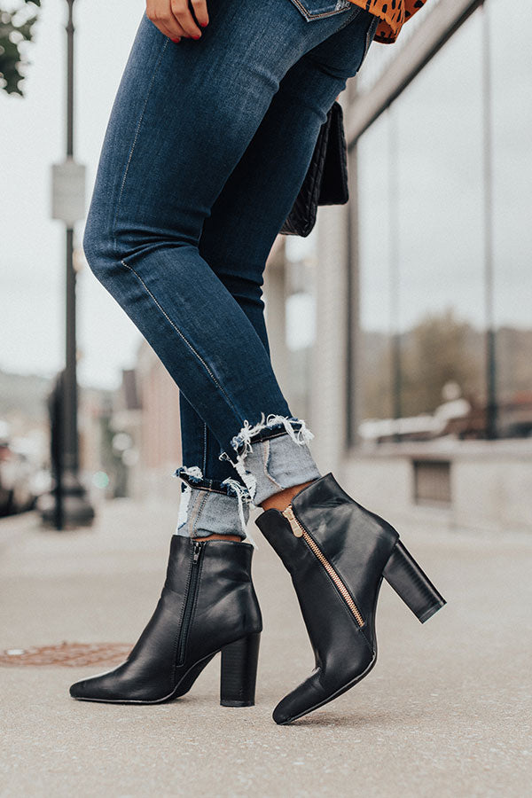 The Miller Faux Leather Bootie In Black
