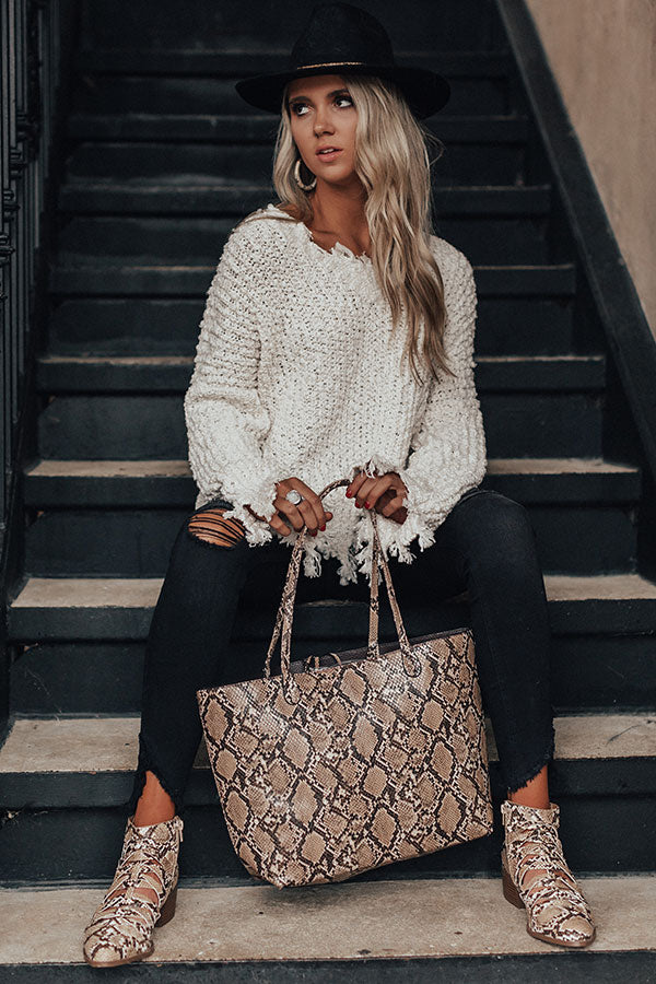 Dream Destination Snake Print Tote