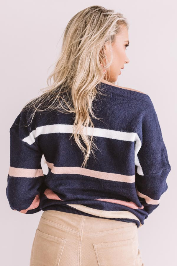 Marvelous Mountain Views Stripe Sweater in Navy
