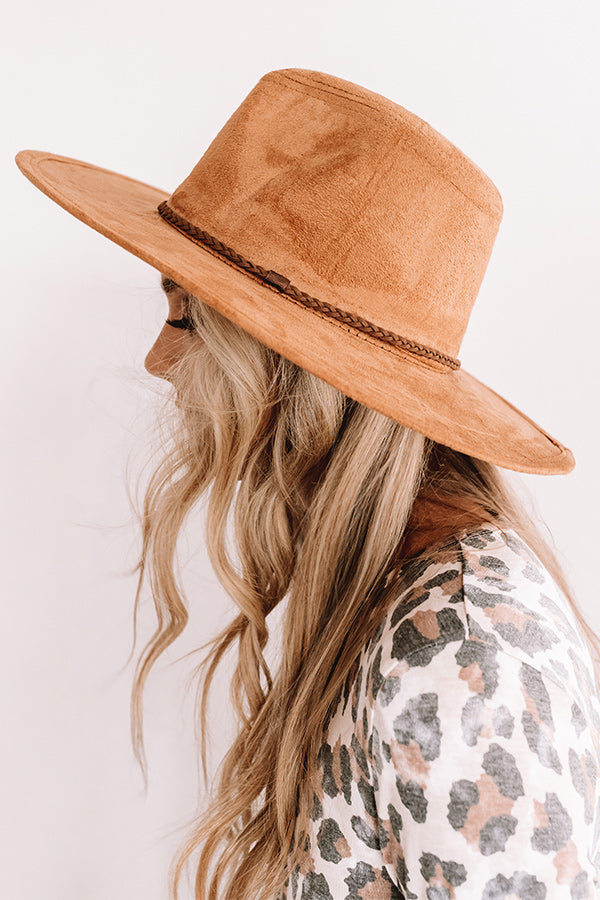Adventure In The Alps Faux Suede Hat In Brown